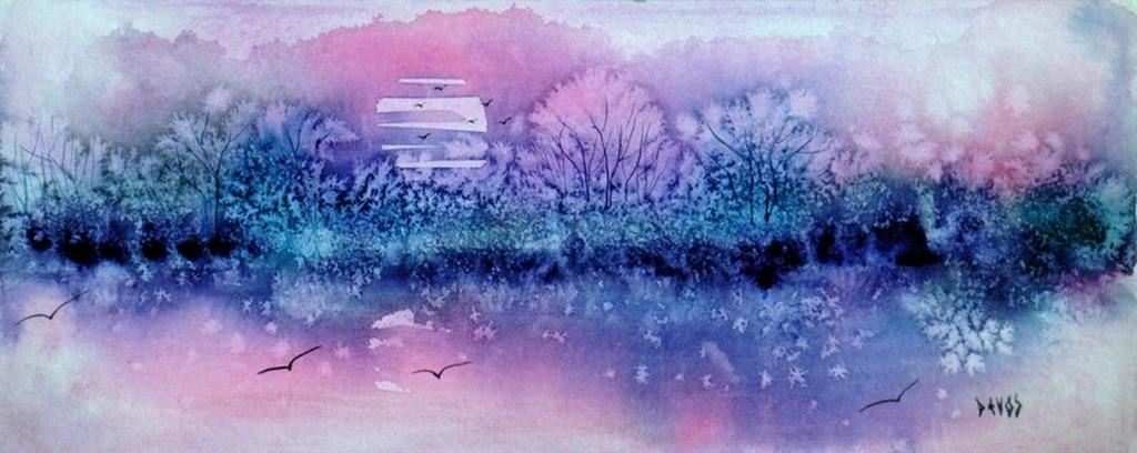 Camargue  rose dans aquarelle soleil-levant-en-camargue-295x12-copier-1024x408