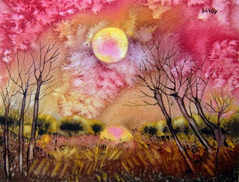 Aurore naissante dans aquarelle aurore-naissante-18x14