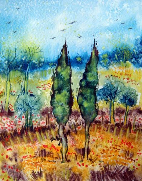 Provence : le jardin fleuri dans aquarelle provence-jardin-fleuri-18x14