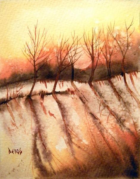 lune d'hiver dans dendrite a-lombre-des-arbres