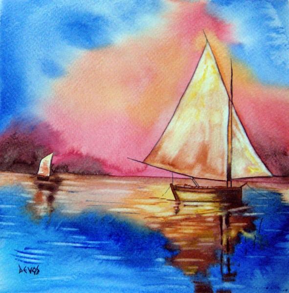 barques au soleil couchant dans marine barques-au-coucher-de-soleil-18x18