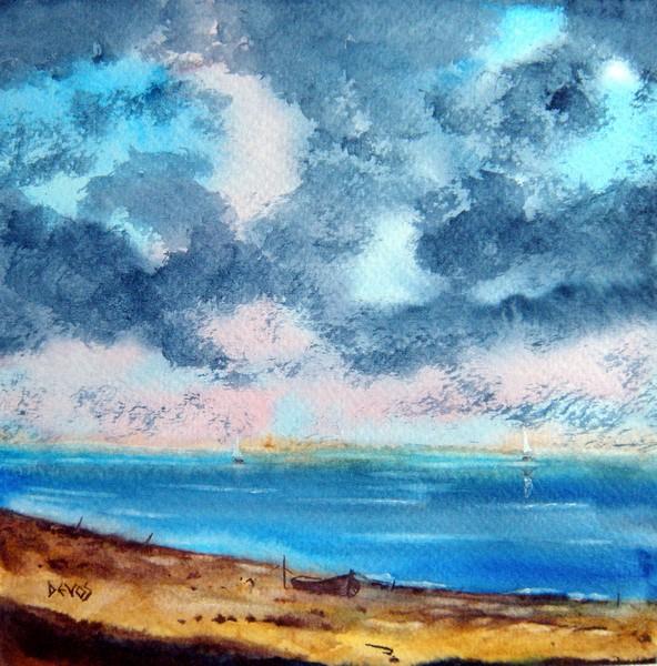 Méditerranée dans aquarelle entre-ciel-et-mer17x17