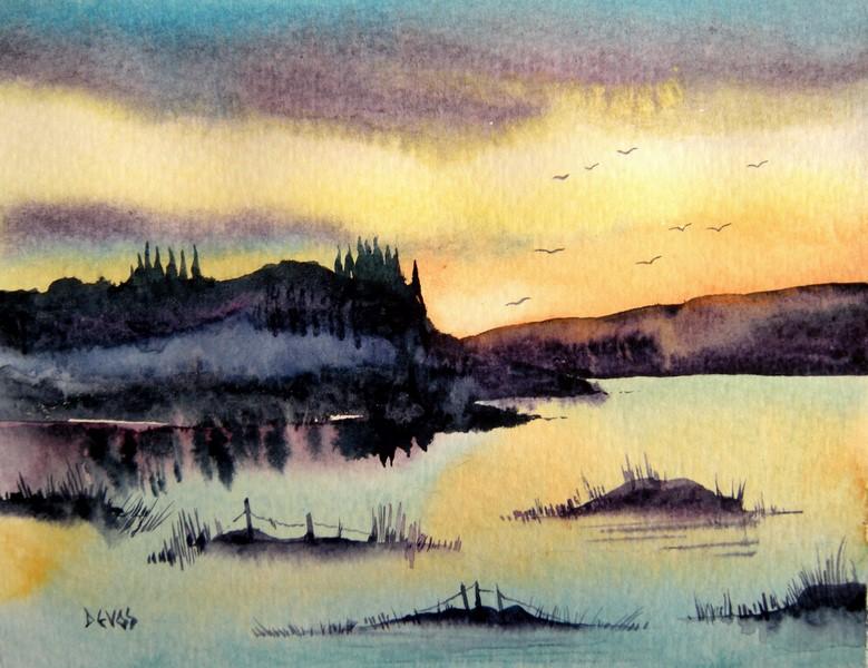 l'étang des aulnes dans aquarelle reflets-du-matin