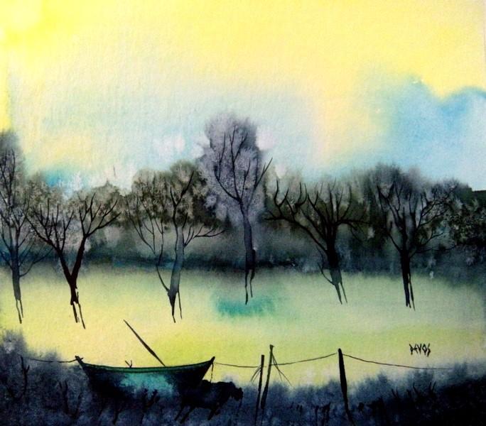 La barque du marais dans aquarelle la-barque-du-marais-20x19cm