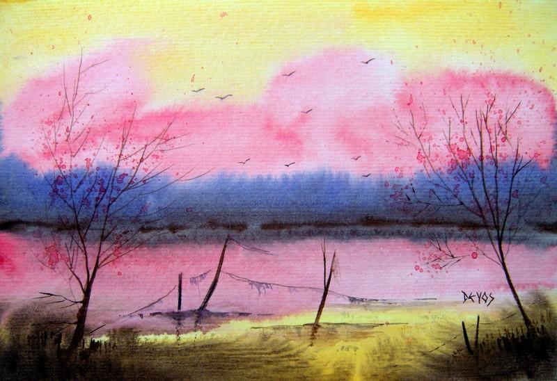Lueur d'Aurore dans aquarelle lueur-daurore-20x14