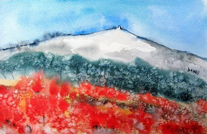 coquelicots au pied du mont ventoux dans aquarelle coquelicots-au-pied-du-mont-ventoux-24x15
